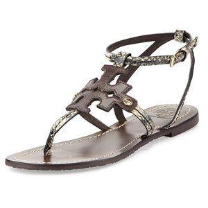 Tory Burch Phoebe Snake Flat Sandals Size 8